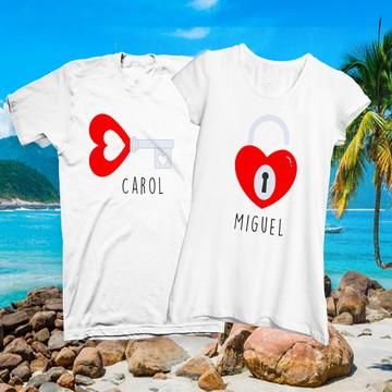 camiseta namorados chave do coração