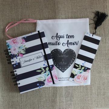 Diário da Noiva (Planner Noiva) - Capa Listrada Flores