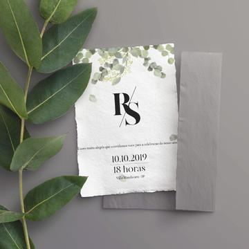 Convite de Casamento Folhas de Eucalipto