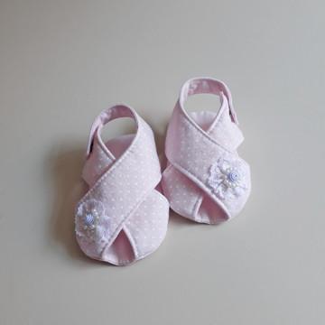 Sapatinho para bebê Sandália Fuxico
