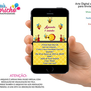 Convite Digital Abelhinha