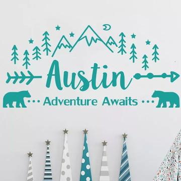 Adesivo Decorativo Montanhas Floresta + Nome
