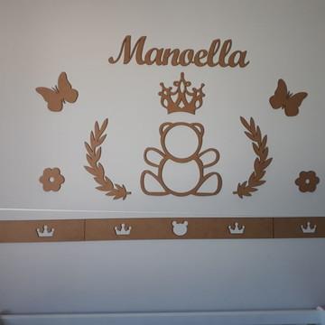 Kit Painel Parede Completo 4 Faixas Ursa Princesa MDF CRU