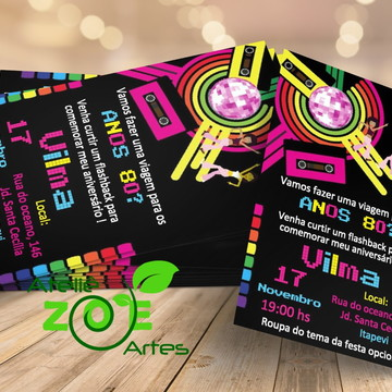 Convite Personalizado Aniversário - Festa Anos 80 - 01
