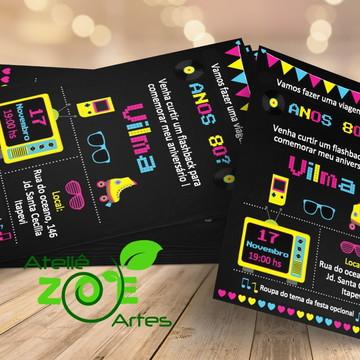 Convite Personalizado Aniversário - Festa Anos 80 - 02