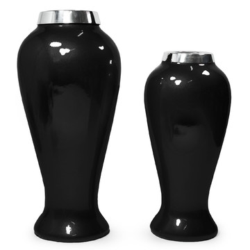Vasos Decorativos de Cerâmica Preto Black (Dupla)