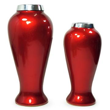 Vasos Decorativos de Cerâmica Vermelho Rubi (Dupla)