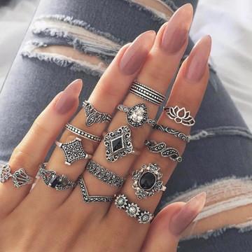 Kit anel Boho, retro, flor, cristal, 15 aneis