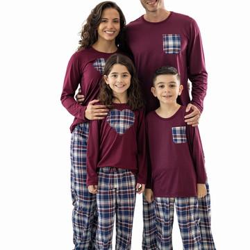 Pijamas Kit Família Pijamas Xadrez Longo - Kit com 4 Pijamas