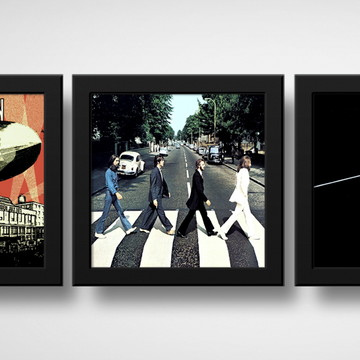 Kit 3 Quadros Led Zeppelin Abbey Road Pink Floyd com Moldura