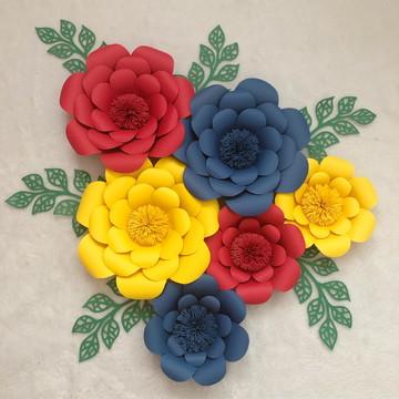 Kit flores de papel Festa mulher maravilha