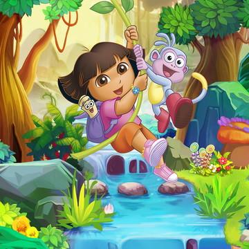Faixa decorativa em adesivo da Dora, a Aventureira