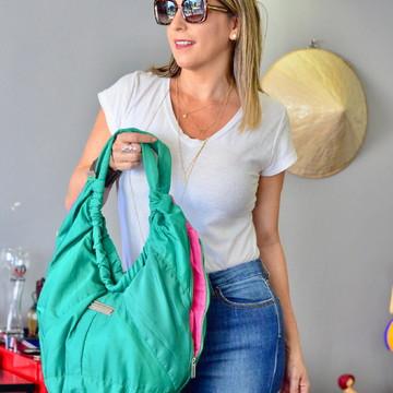 Bolsa verde e rosa tecido vice versa