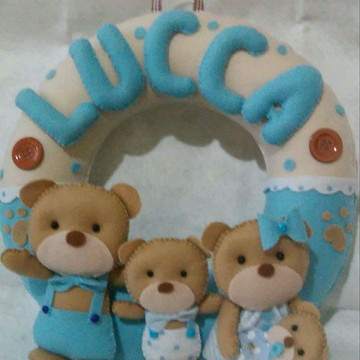 Enfeite Porta Maternidade Família Urso Lucca