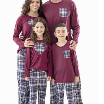 Pijamas Kit Família Pijamas Xadrez Longo - Kit com 5 Pijamas
