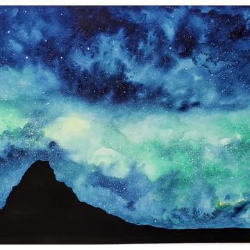 Galáxia com montanhas - Obra original por encomenda
