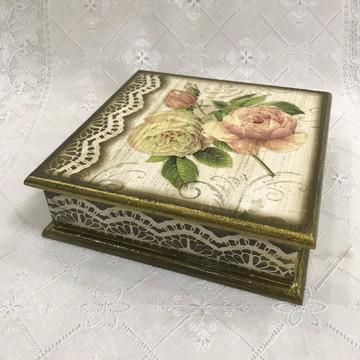 Porta guardanapo Chaves lenços caixa madeira mdf
