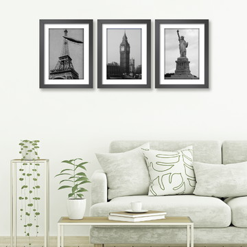 Quadro Nova York Paris Londres Eiffel Big Ben Kit C/ 3 Sala