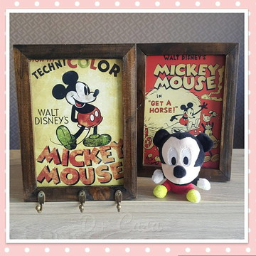 Quadro e porta chaves 18x24 cm Mickey