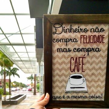 Quadro decorativo 18x24 cm Dinheiro compra café