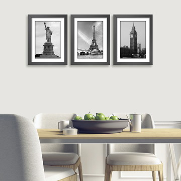 Quadro Nova York Paris Veneza Eiffel Londres P/B Kit C/ 3