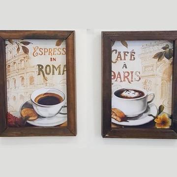 Dupla Quadros decorativos 18x24 cm Café Paris e Roma