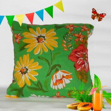 Capa Para Almofada Chita Verde Flor