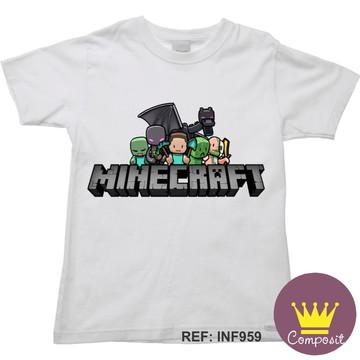 Kit 12 Camiseta Infantil Minicraft.
