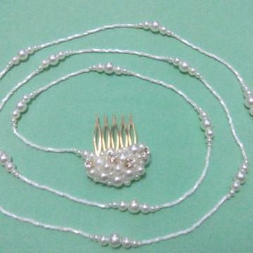 Tiara Fio 135 cm Branco p/ Arranjo Penteado de Cabelo Noivas