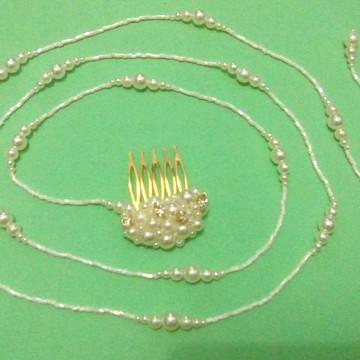 Tiara Fio 135 cm Marfim p/ Arranjo Penteado de Cabelo Noivas