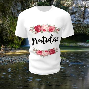 ecdcd02f7f Camiseta Camisa Blusa Personalizada Gratidão Fé Felicidade
