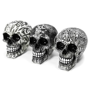 Trio Crânios Esqueleto Caveiras Resina Resistente Brilhante