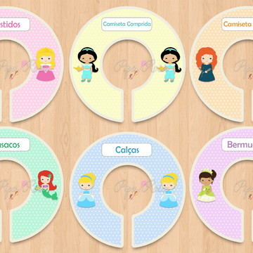 Separadores de Cabide para meninas - Princesas
