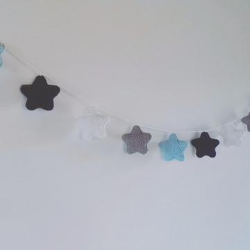 Varal estrelas em crochê Azul bebê, azul marinho, cinza e br