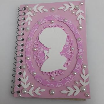 Caderneta note e anote com capa de Eva Menina Orando