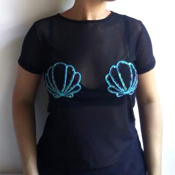 20e27f441 Camiseta Preta Transparente Concha Sereia