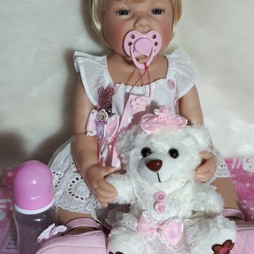 Bebê Reborn Silicone com roupa branca