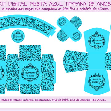 Kit Digital Festa Azul Tiffany - 15 anos