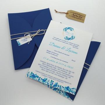 Convite de Casamento Rústico Floral Azul