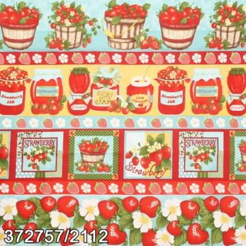 Tecido Faixa de Frutas e morangos 2112