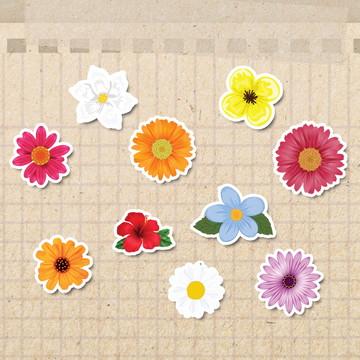 50 Adesivos Flores 7cm - FRETE GRÁTIS