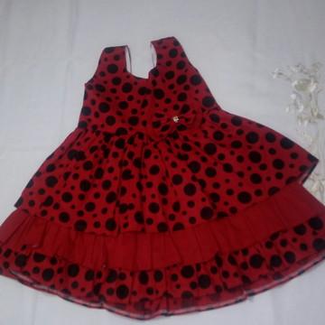 Vestido Vermelho/Poá Preto 2