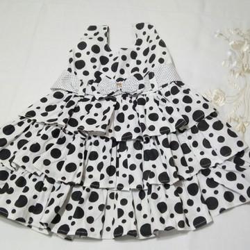 Vestido Branco Poá Preto/Laço