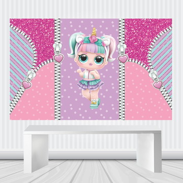 Painel LOL SURPRISE UNICORNIO Lona Fosca 1,50m x 1,00m