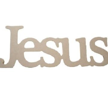 Palavra Decorativa Jesus - Medida: 37,2cmx13,5cmx15mm