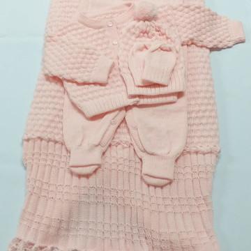 Saída Maternidade Tricot Menina Rosa Bebê