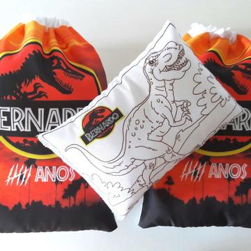 (004) Kit almofada pinte e lave +sacolinha Jurassic