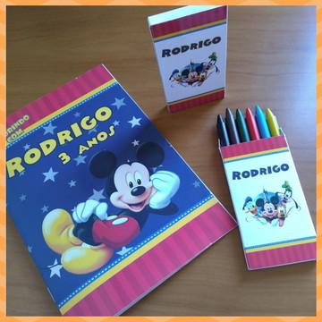 "KIT colorir (revistinha + giz de cera) ""Mickey Mouse"""