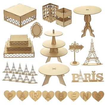 Kit Festa Mdf Aniversário Paris 31 peças