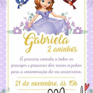 convite digital aniversario princesa sofia
